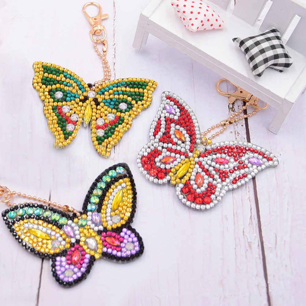Nowy zestaw 5D diament malarstwo brelok Cartoon motyl dżetów diament haft mozaika haft krzyżykowy prezent na walentynki