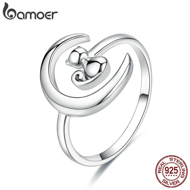 BAMOER Authentic 925 Sterling Silver Moon Cat Open Size Adjustable Finger Rings For Women Wedding Engagement Jewelry SCR451