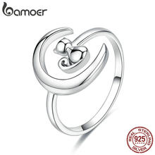 BAMOER Authentic 925 Sterling Silver Moon Cat Open Size Adjustable Finger Rings for Women Wedding Engagement Jewelry SCR451(China)