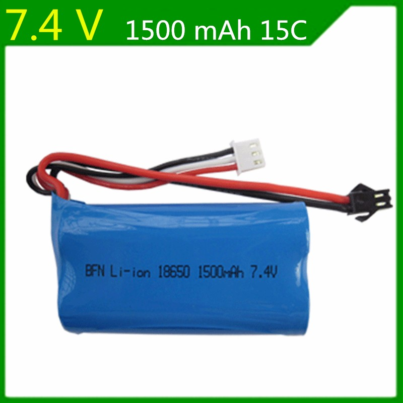 7,4 V 1500mAh Lipo batería para U12A Hanqi 957 948 WLtoys 12428 MJXRC T40 F39 F49 T39 Syma S033g 18650 15C RC barco/coche/aviones