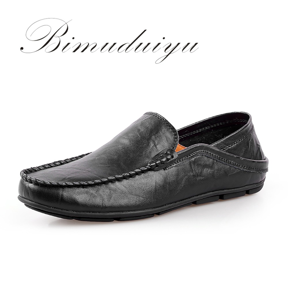 BIMUDUIYU Men Flat Shoes Quality Leather Men Loafers Solid Black Breathable Slip-On Casual Shoes Large Sizes Soft Driving Shoes nis breathable mesh flat men shoes casual summer slip on shoes men patchwork stitching loafers sewing soft sole pu leather flats
