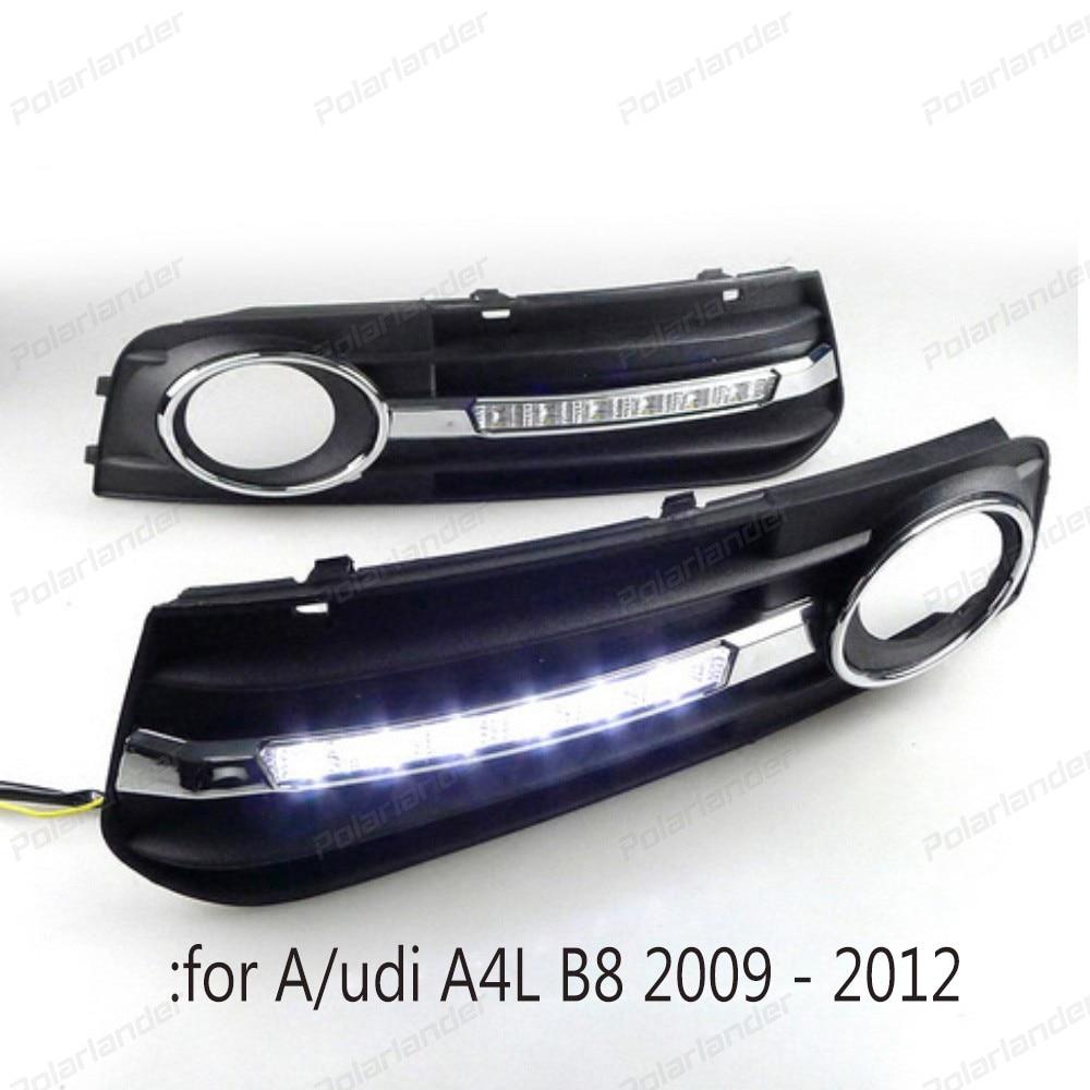 1 set for A/udi A4 A4L B8 2009 2010 2011 2012 Daytime running light Car LED DRL Fog Lamp cover car styling