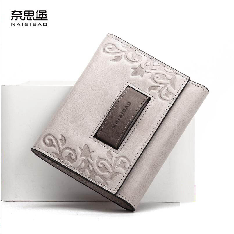NAISIBAO 2020 New luxury women bags fashion Superior cowhide women wallets genuine leather clutch bag women leather wallets