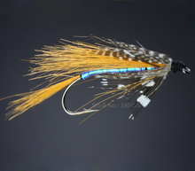 40Pcs Salmon Single Flies Black/Orange Sea Salmon Trout Fly Fishing Lures