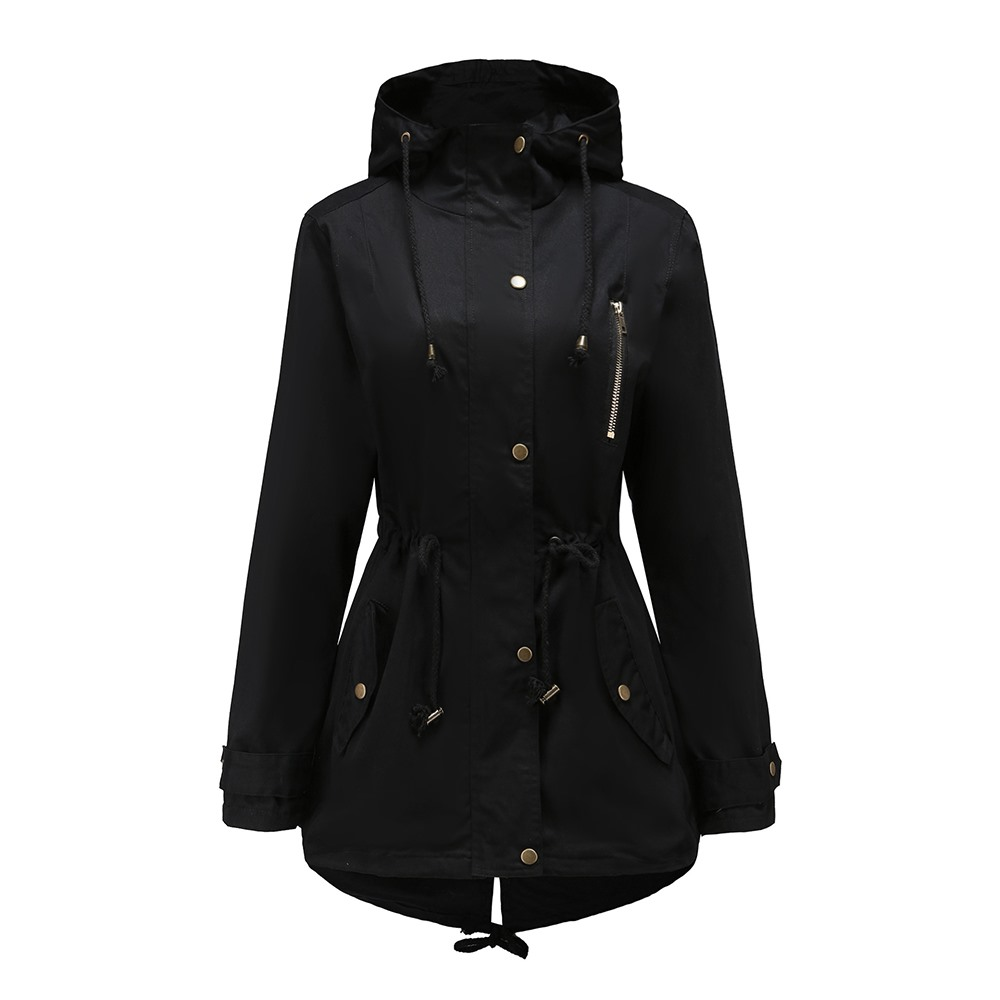 2018 Winter Warm Gothic Black Casual Plus Size Women Jackets Slim Plain Patchwork Button Pocket Girls Fall OL Female Overcoats