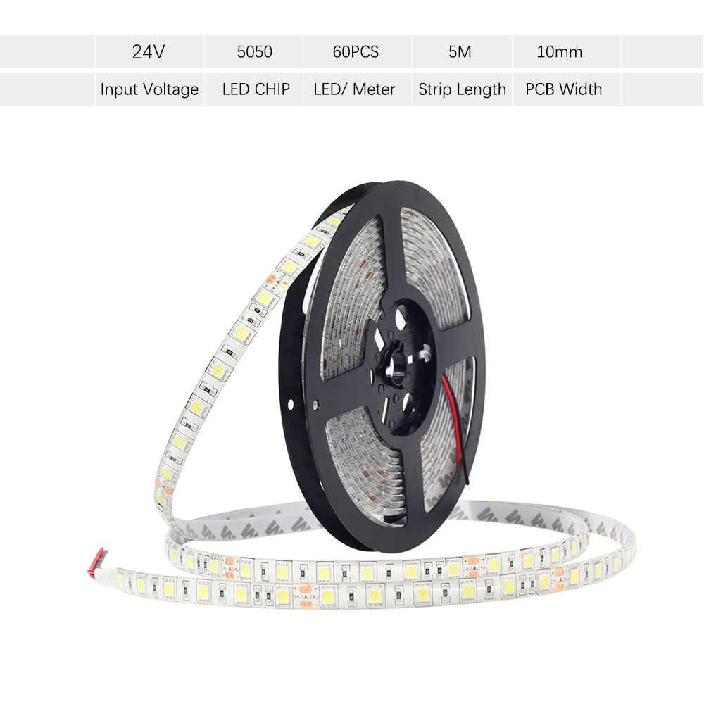 DC 24 В 5050 Светодиодные ленты 60 светодиодный s/m 5 м/Roll 300 светодиодный s IP65 Водонепроницаемый Светодиодные ленты 5050 RGB, белый, теплый белый, красный, синий, зеленый, желтый