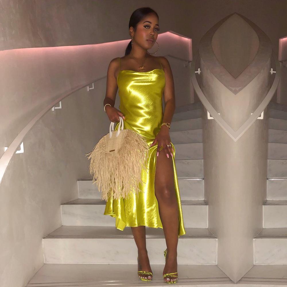 Elegant Solid Bright Silk High Slit Dress Women Sexy Spaghetti Strap Irregular Long Dress Vintage Evening Party Dresses Vestidos