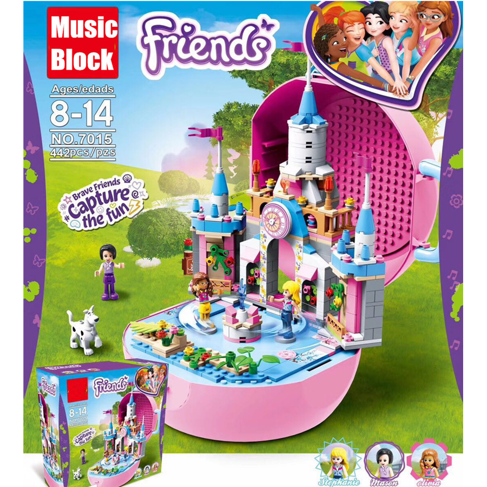 New Heartlake Friends fit legoings friends figures city girls castle MUSIC BOX building block Bricks Princess toys kid christmas aiboully 10166 2017 new 489pcs girls friends heartlake city school building block sets assemble bricks toys compatible 41005