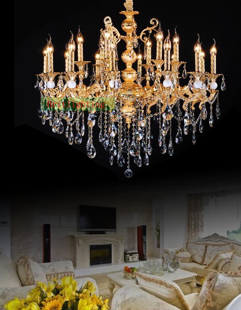 vc508 ... - Gold Plated Zinc Alloy Crystal Chandelier Antique Gold Chandelier