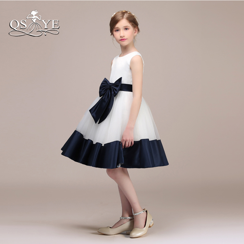 QSYYE 2018 Cute Short   Flower     Girl     Dresses   Puffy A-line Sleeveless Blue Bow Sash   Girl   Prom Party Gown Custom Made