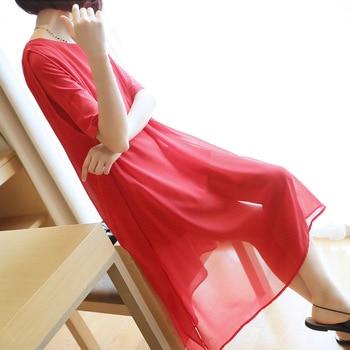 Korean version of the ladies loose chiffon dress 2019 summer new women's long solid color split short