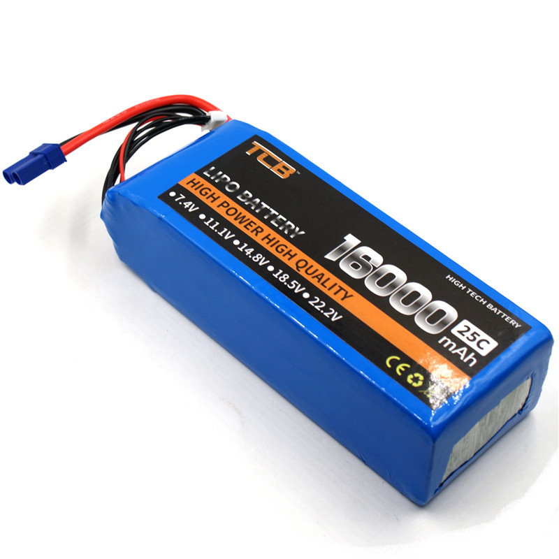 TCB RC Lipo Battery 4S 14.8V 16000mAh 25C RC Airplane Drone Quadrotor Helicopter Car Boat Tank Batteria AKKU mos 5s rc lipo battery 18 5v 25c 16000mah for rc aircraft car drones boat helicopter quadcopter airplane 5s li polymer batteria