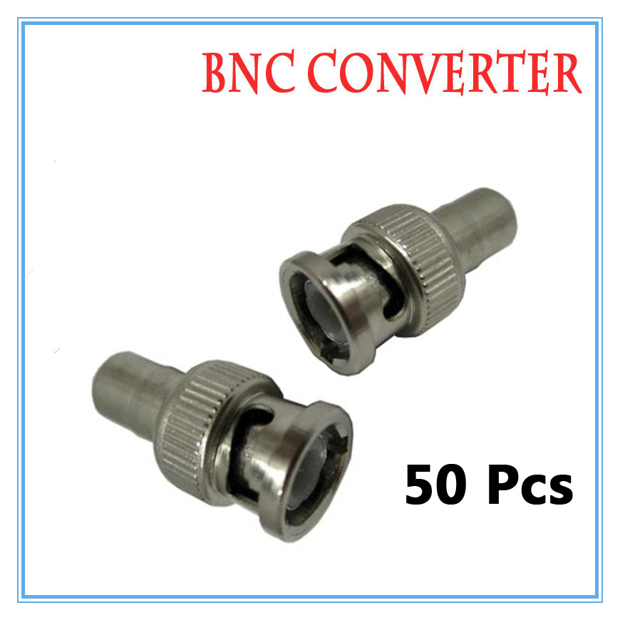 50pcs BNC Male RCA Female Video Plug Coupler Connector to screw Video BNC Connector Adapter Surveillance Accessories gotake 10pcs bnc male jack to rca female socket plug adapter video connector silver for ahd cctv security camera dvr recorder