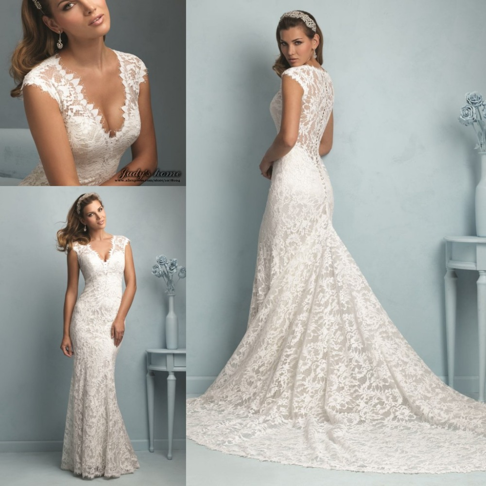 Designer Wedding Dress V neck Sheer Lace Back Mermaid Lace Wedding ...