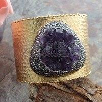 B012011 Natural Druzy Dangle Bangle Bracelet