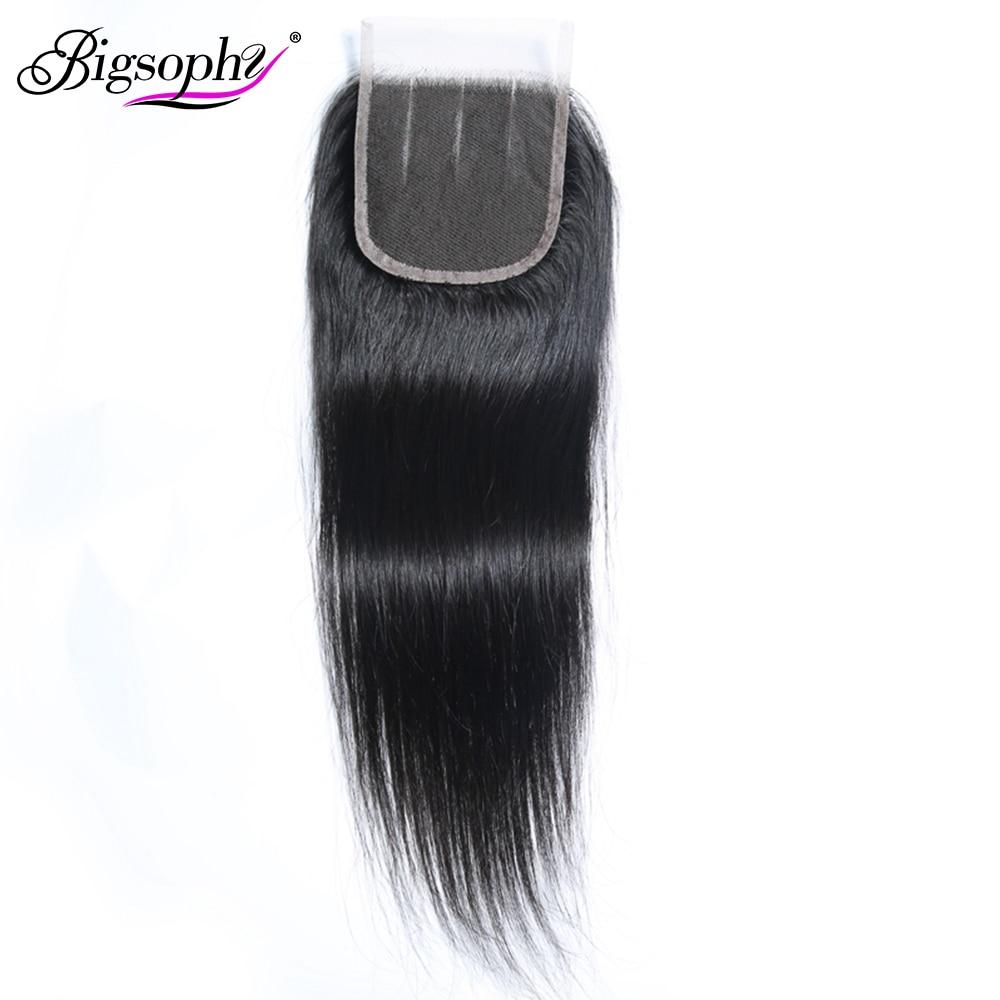 Bigsophy cabelo brasileiro em linha reta closure100 % cabelo humano 8-22 Polegada 4*4 fechamento do laço remy cabelo tecelagem laço suíço fechamento frontal