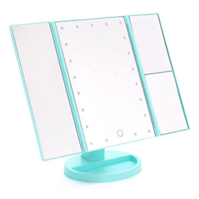 24 Led Lights Portable Three Folding Table Led Lamp Luminous Makeup Mirror Cosmetic Mirror 2019 New Fashion Style Online Makeup Mirrors