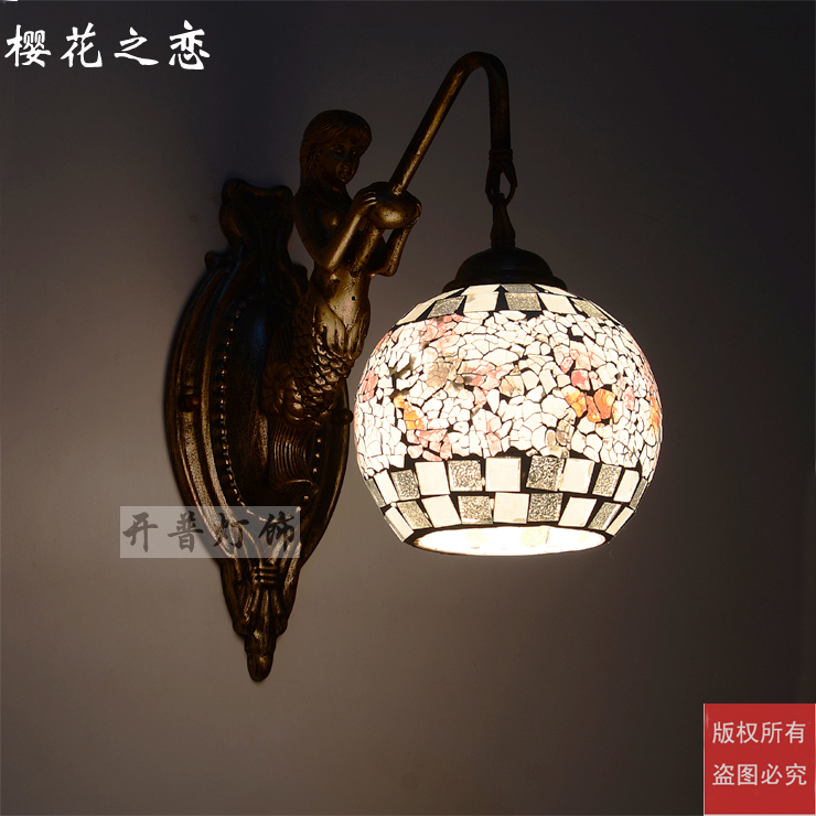 Işıklar ve Aydınlatma'ten Duvar Lambaları'de Akdeniz Tiffany Mermaid duvar lambası AC 110/220V E27 duvar lambaları ev için koridor yatak odası title=