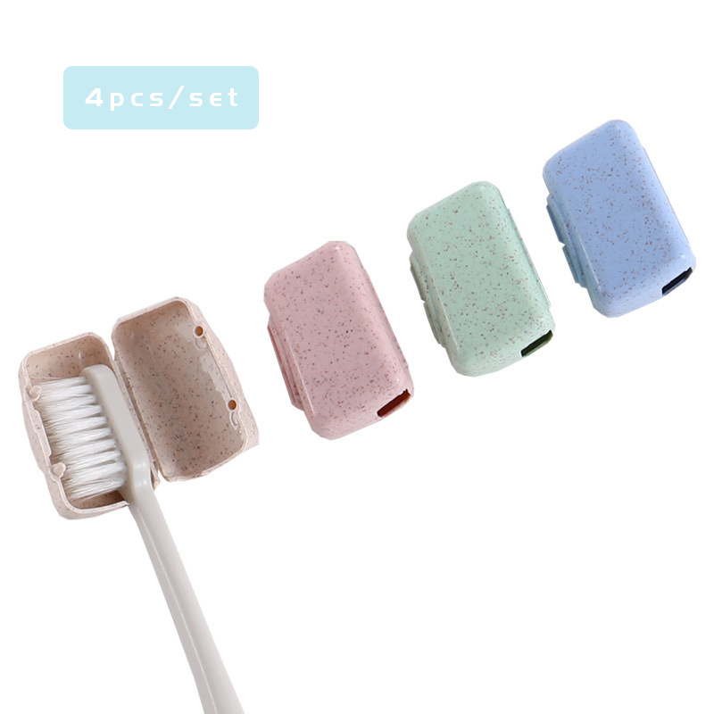 4pcs/set Portable Travel Toothbrush Cover Wash Brush Cap Holder Box Travel Accessories Packaging And Storage