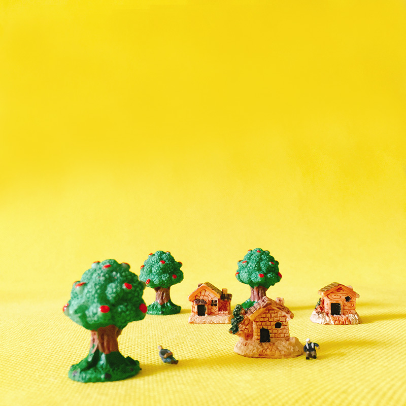 3 pcs mini house/little trees/miniatures cottage/shabby /cute/ fairy garden/gnome/moss terrarium home decor/crafts supplies
