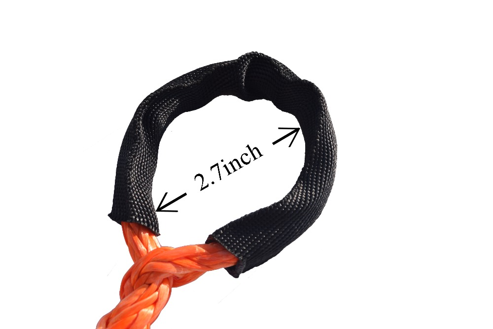 "Image 2 - Orange 3/8"" * 50ft Synthetic Winch Rope Extension,10mm ATV Winch Cable, Synthetic Rope,Towing Rope for Offroad Auto Parts-in Towing Ropes from Automobiles & Motorcycles"