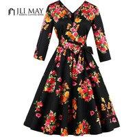 JLI MAY Women Vintage V Neck Dress Floral Printed Belted 3 4 Sleeve Elegant Office Autumn