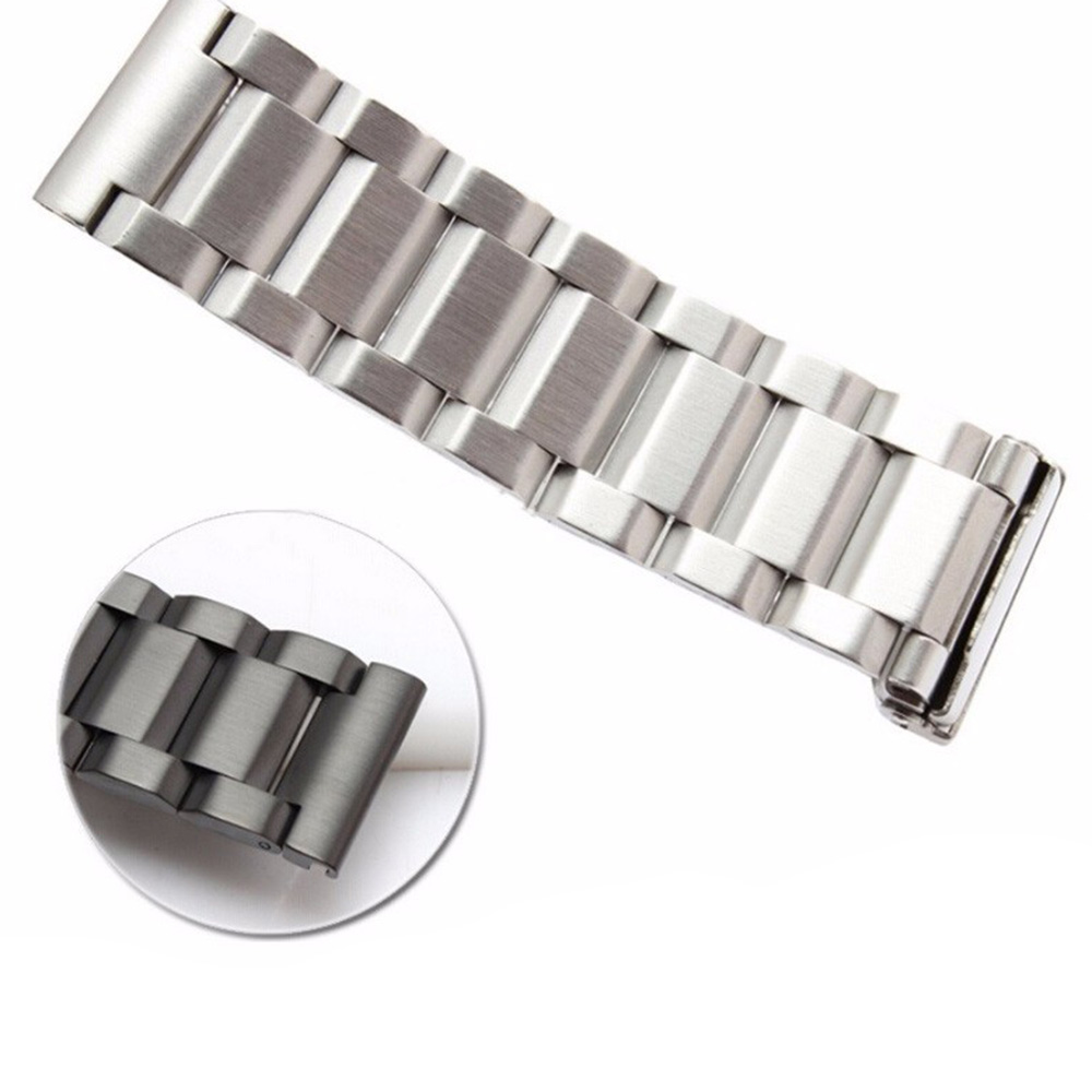 18 20 22 24mm New Man Silver Brushed Solid Stainless Steel Bracelet Watch Band Strap Belt Double Push Clasp relogio masculino in Watchbands from Watches