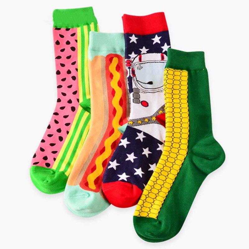 12pairs/pack Happy Socks Fruit Cherry Mango Watermelon Designer Combed Cotton Funny Calcetines Largos Hombre