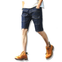 2017 Summer Male Cargo Denim Shorts Men Multi-Pockets Jeans Casual Straight Shorts Large size free shipping