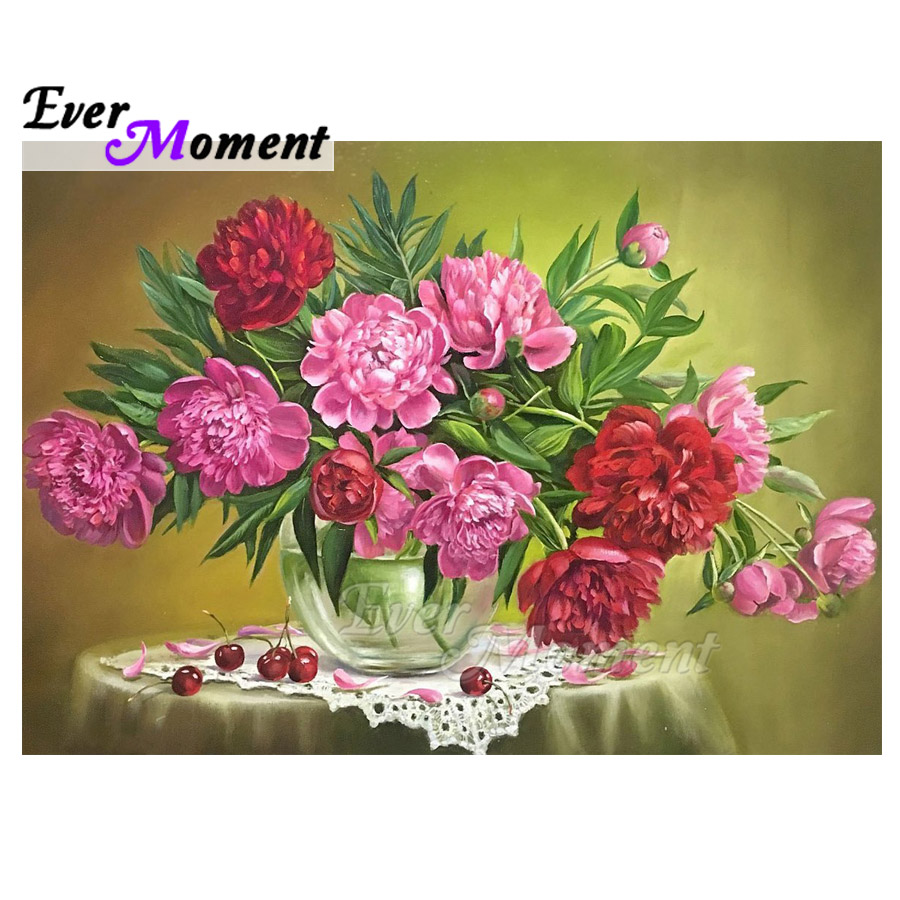Ever Moment Diamond Painting Pink Flower Table Handmade Full Square Drill 5D DIY Picture Rhinestone Diamond Embroidery ASF1656Ever Moment Diamond Painting Pink Flower Table Handmade Full Square Drill 5D DIY Picture Rhinestone Diamond Embroidery ASF1656