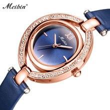 MEIBIN Top marka Hot sprzedaż nowa moda kobiety luksusowe panie zegarek kwarcowy z diamentem elegancki prawdziwej skóry kobiet zegar