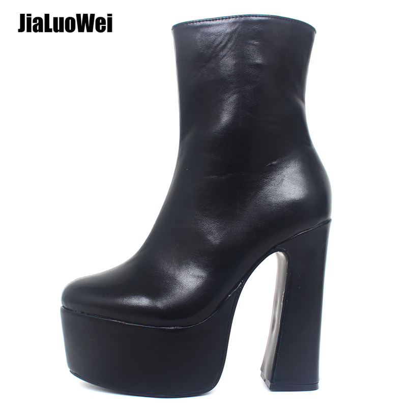 Jialuowei Femmes Plate-Forme Bottes Sexy Gothique 15 cm Haut Talon carré bottines Épais Talon Carré Bout Pointu Punk chaussures pour femmes