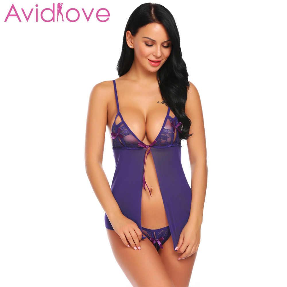 09c812d59d8 ... Avidlove Sexy Hot Lingerie 2018 Women Lace Mesh V-Neck Open Front  Babydoll Dress Sex ...