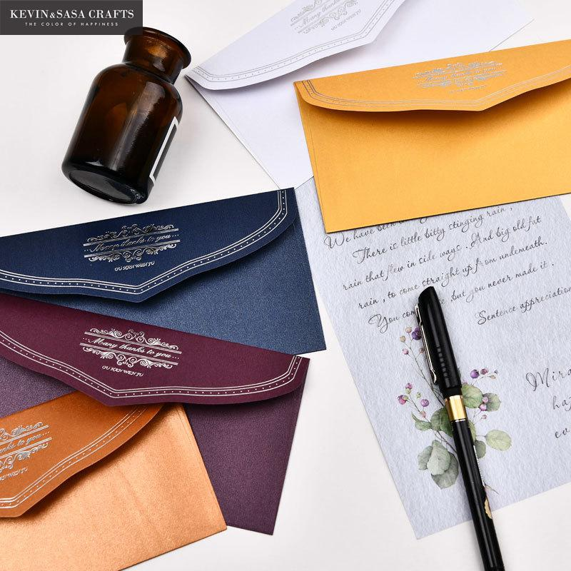 (5Pcs/Set) Pearl Paper Envelopes For Invitations With 5Pcs Inner Pages Wedding Invitation Envelope Set Envelope Gift Envelopes