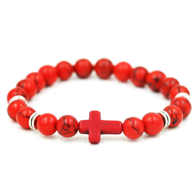 Natural Stone Cross  Bracelet