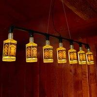 Retro Loft Wine Bottle Pendant Light Wine Bottlle Light For Bar Restaurant Cafe Decoration Personality Pendant