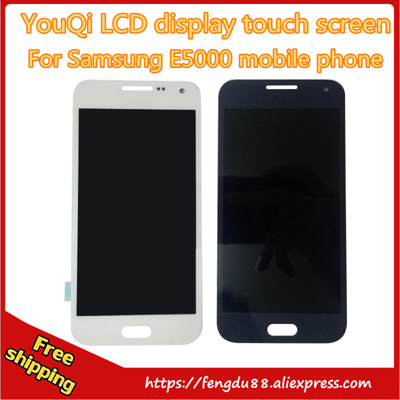 LCD Screen Replacement Assembly For Samsung Glaxy E5 E5000 E500F E500H E500M  Digitizer Touch Display Complete free shipping brand new tested lcd display touch screen digitizer assembly for samaung galaxy e5 e500f h hq m f h ds replacement parts