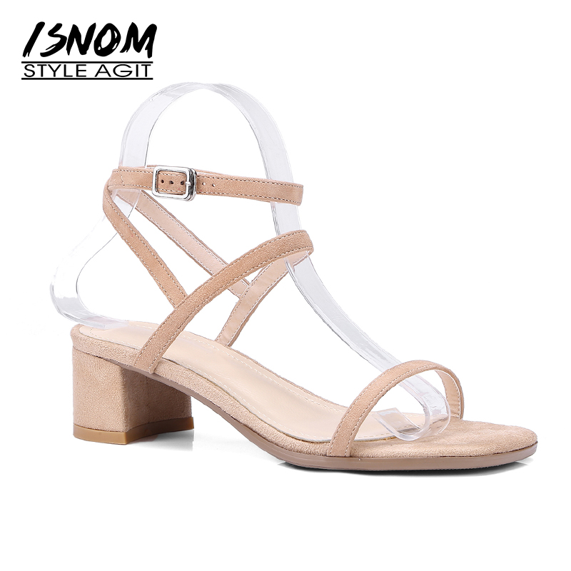 ISNOM Summer Thick Heels Sandals Women Strange Style Open Toe Sandals Shoes Kid Suede Cross Strap
