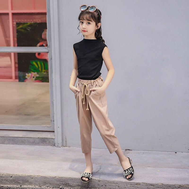 c1b9405ddf10 Big Girl Pants Set Dirndl 2018 Little Girl Summer Black Vest Top and Khaki  Pants 2 Pack Children's Clothing Set-in Clothing Sets from Mother & Kids on  ...