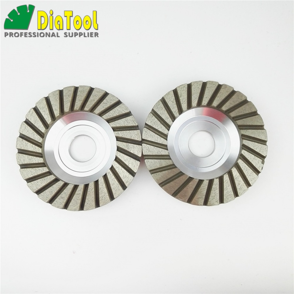DIATOOL 4inch #120 Aluminum Based Diamond Grinding Cup Wheel Bore 22.23/16mm Diameter 100mm Grinding Wheel for Granite Concrete