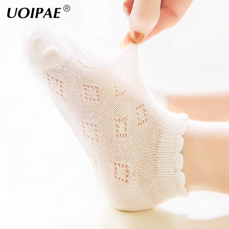 WARMSHOP Girls Lace Bowknot Soft Socks Anti-Slip Air Conditioning Breathable Cotton Knit Toddlers High Socks