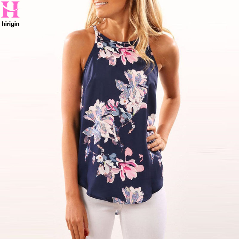 2018 Summer Shirts Women Blue Blouse Round Neck Floral Sleeveless Summer Ladies Chiffon Loose Casual Tops
