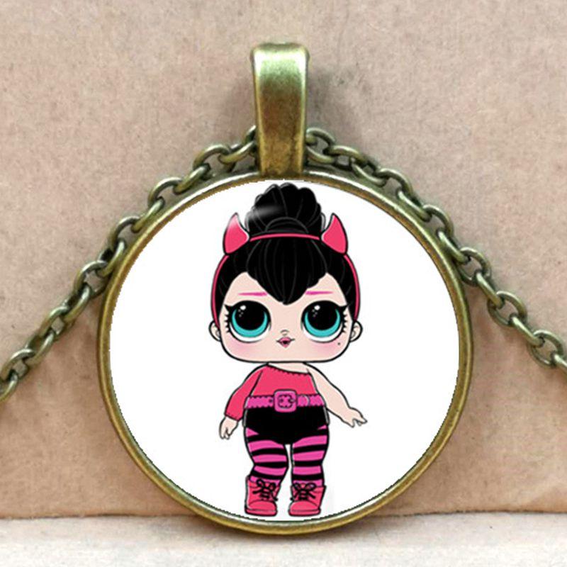 Мультяшное ожерелье с изображением куклы милое детское блестящее платье принцессы куклы стеклянные ожерелья аниме для детей подарок на день рождения - Окраска металла: bronze 4
