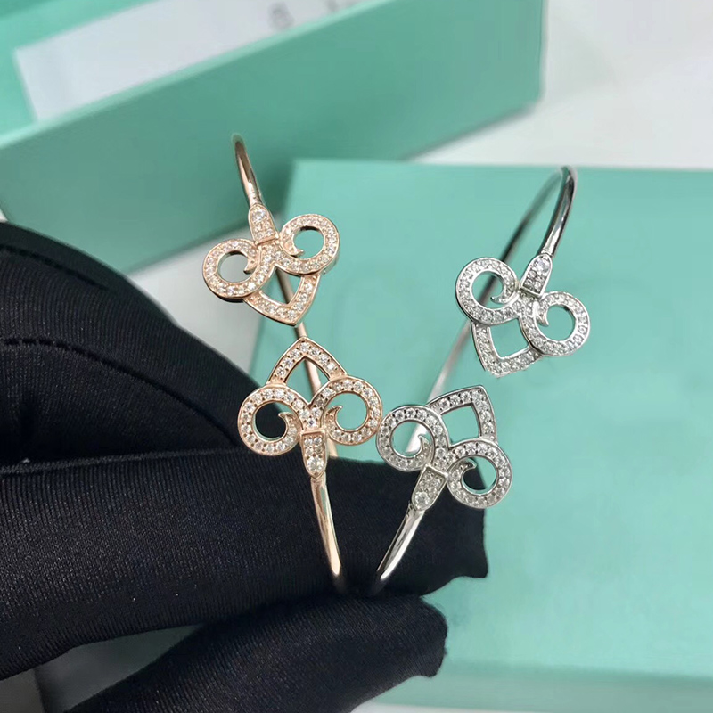 2018 Brand Pure 925 Sterling Silver Jewelry For Women Silver Key Bangle Rose Gold Color Double Flower Key Bracelet Top Quality