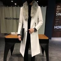 2018 New Winter Blazer Fur Collar Long Section Men fur Coat Men's Business Casual Leather Jacket Fleece Warm Thick Overcoat XXXL