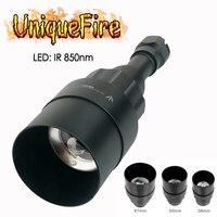 UniqueFire 1605 Osram IR 850nm светодиодный фонарик для охоты 75 мм объектив 3 режима заряжаемый через интерфейс USB фонарь лампа + 67 мм/50 мм/38 мм головка