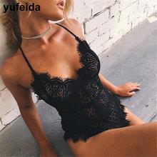 YUFEIDA New Arrival Sexy Women Lace Onesies Sleepwear Lingerie BodySuit Nightwear Deep V Hot Anniversary Bodysuit