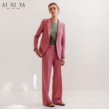 Deep Pink Slim Work Wear Elegant Women Pant Suits OL Fashion Ladies Formal Trouser Suit Female Office Business Suits Custom Made