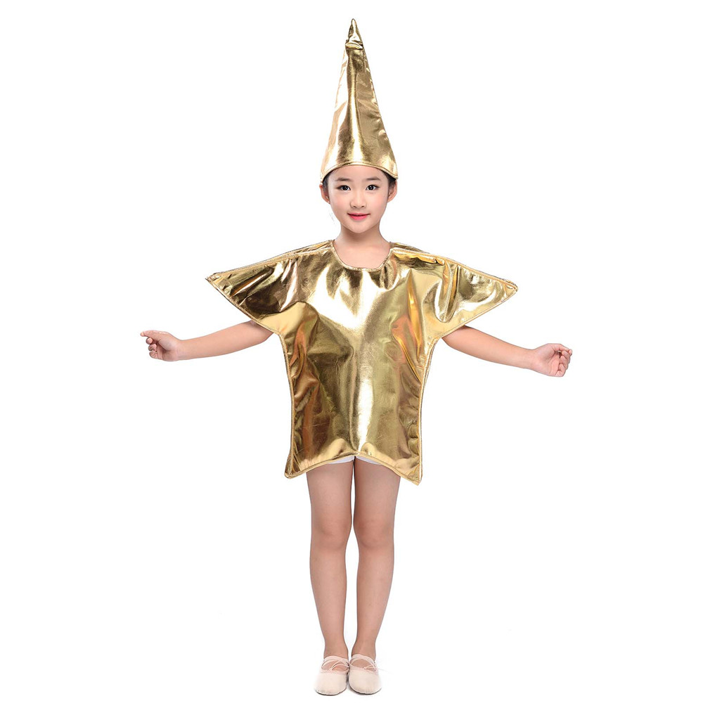 Kids Halloween Gold Star Costume Star Of Bethlehem Christmas Fancy Dress Nativity Costume Christmas Party Cosplay for New Year