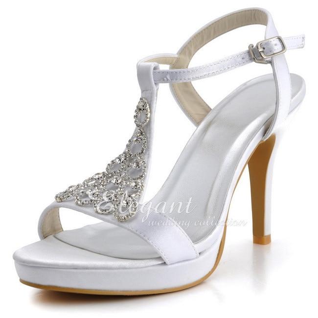 ФОТО Women Sandals EP2054-PF White Ivory High Heel Platform T-strap Sandals Satin Bride Bridesmaid Party Dress Pumps Wedding Shoes
